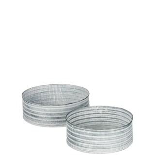 Patina Tin Round Tray Decor - Set of 2