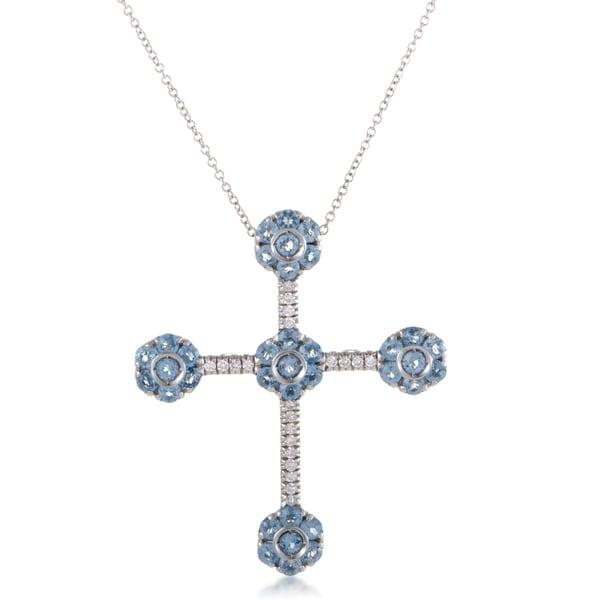 Pasquale Bruni Fiori 18K White Gold Diamond and Topaz Cross Pendant Necklace 33093580