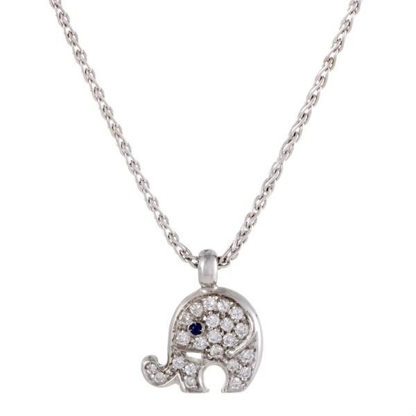 Pasquale Bruni White Gold Diamond Pave and Sapphire Elephant Pendant Necklace 33093642