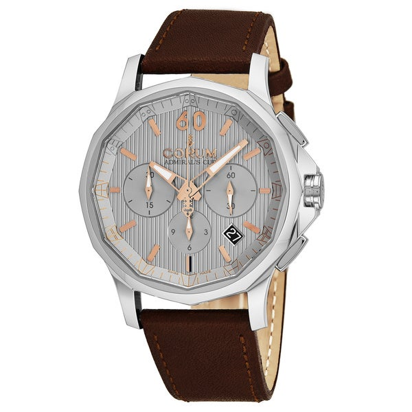 Corum Men's A984/03551 'Admirals Cup Legend' Silver Dial Brown Leather Strap Chronograph Swiss Automatic Watch 33094198