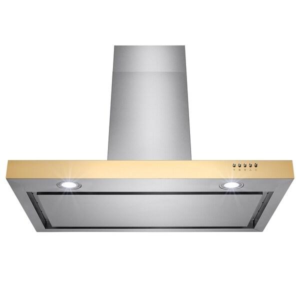 "AKDY RH0191 36"" Stainless Steel Wall Mount Range Hood Push Button Control Aluminum Mesh Filter Cooking Fan 33094403"
