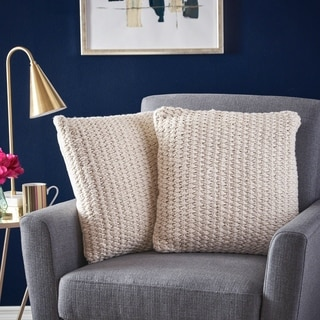 Despina Square Faux Yarn Pillow (Set of 2) by Christopher Knight Home