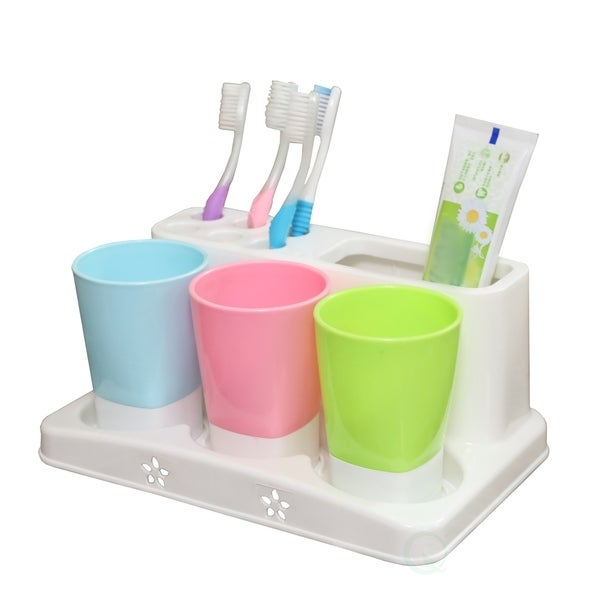 Family Size Toothbrush and Toothpaste Holder with 3 Cups 33118886