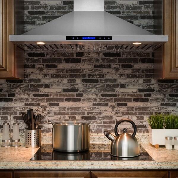 "AKDY RH0220 42"" Wall Mount Stainless Steel Range Hood /w Touch Screen Display Baffle Filter 33120599"