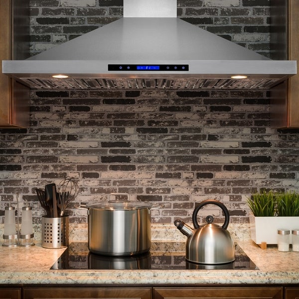 "AKDY RH0221 48"" Wall Mount Stainless Steel Range Hood /w Touch Screen Display Baffle Filter 33120610"