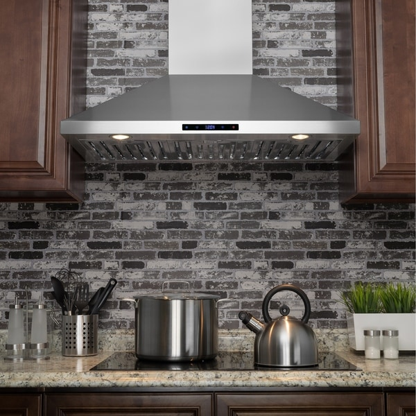"AKDY RH0229 36"" Stainless Steel Wall Mount Touch Panel Range Hood with Carbon Filters 33129942"