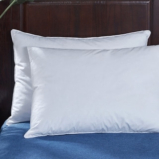 2 Pack Firm Goose Feather and Down Pillows for Back and Side Sleepers - White