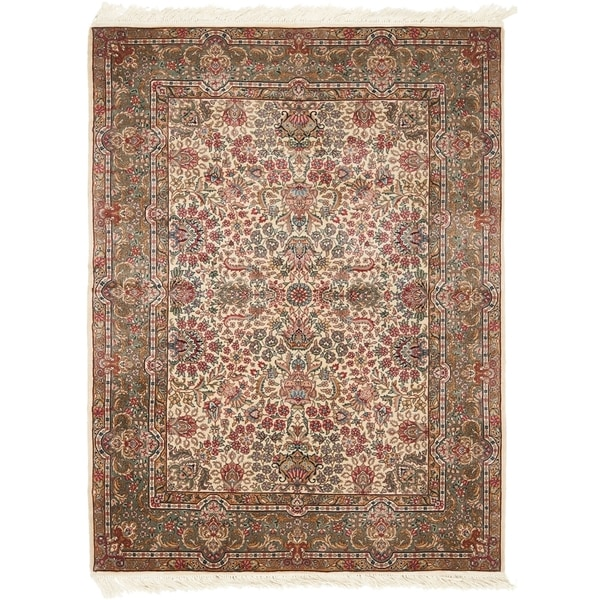 Safavieh Couture Hand-Knotted Royal Kerman Traditional Ivory / Multi Wool Rug (6' x 6' Round) 33133894