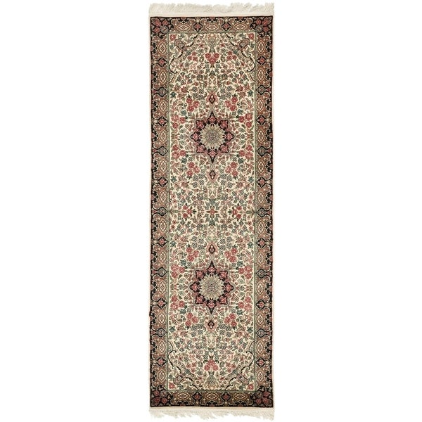 Safavieh Couture Hand-Knotted Royal Kerman Traditional Ivory / Multi Wool Rug - 2'6' x 8' 33133954
