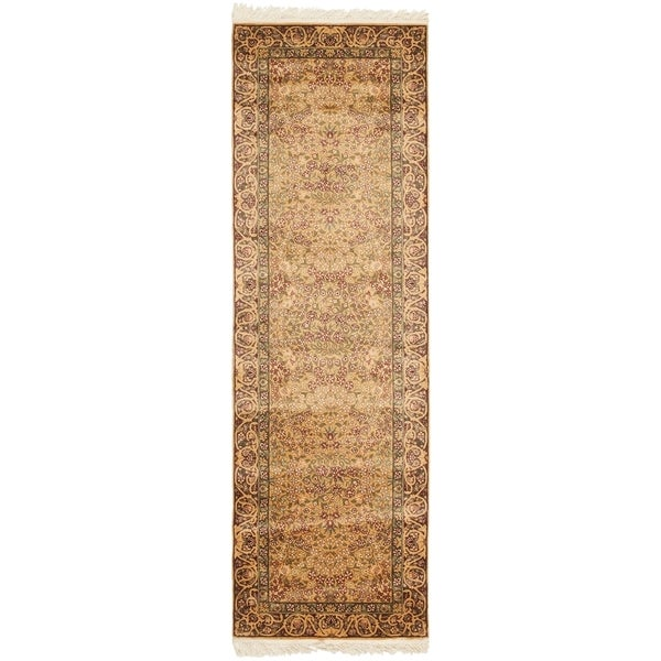 Safavieh Couture Hand-Knotted Royal Kerman Traditional Gold / Brown Wool Rug (2'6' x 12') 33134012