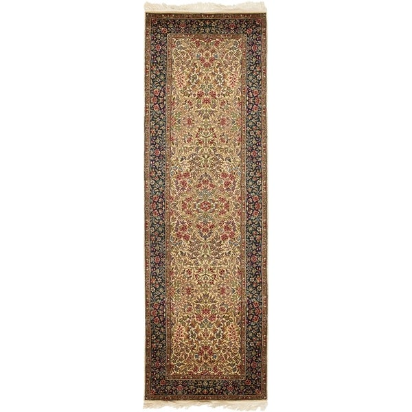 Safavieh Couture Hand-Knotted Royal Kerman Traditional Tan / Navy Wool Rug (2'6' x 16') 33134052
