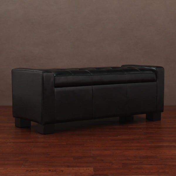 Tufted Leather Storage Bench Black