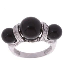 Glitzy Rocks Sterling Silver Marcasite & Onyx Ring