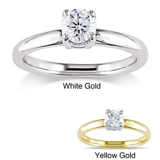 Miadora 14k Gold 1/2ct TDW Certified Diamond Solitaire Engagement Ring (G-H, I1-I2) with Bonus Earrings