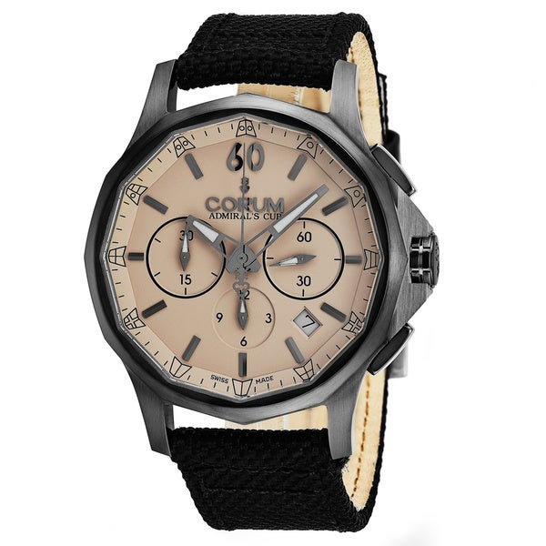 Corum Men's 984.102.98/0603AC 'Admiral Cup Legend' Taupe Dial Black Canvas Strap Chronograph Swiss Automatic Watch 33211428