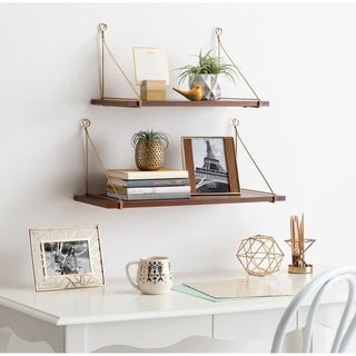 Kate and Laurel Vista Wood and Metal Wall Shelves, 2 Piece Set