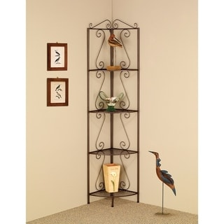 Four Tier Metal Foldable Corner Bookcase with Decorative Scrolled Details, Black