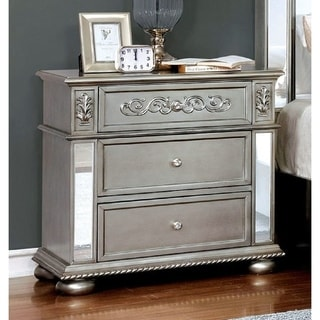 Furniture of America Zeln Traditional Silver Solid Wood Nightstand