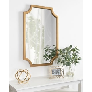 Kate and Laurel Hogan Wood Framed Mirror with Scallop Corners - 24x36