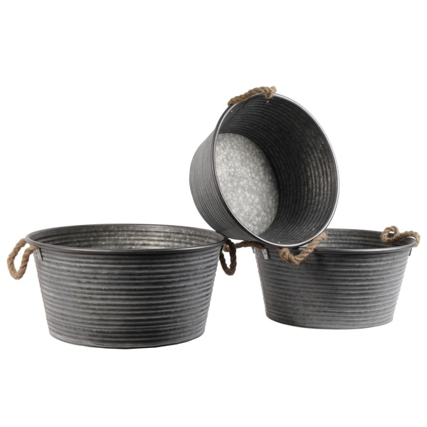 UTC31437: Metal Round Planter with Ribbed Design Body and Rope Side Handles Set of Three Galvanized Finish Gray 33225401