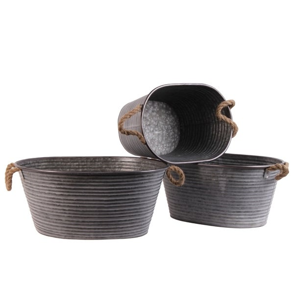 UTC31440: Metal Oval Planter with Ribbed Design Body and Rope Side Handles Set of Three Galvanized Finish Gray 33225406