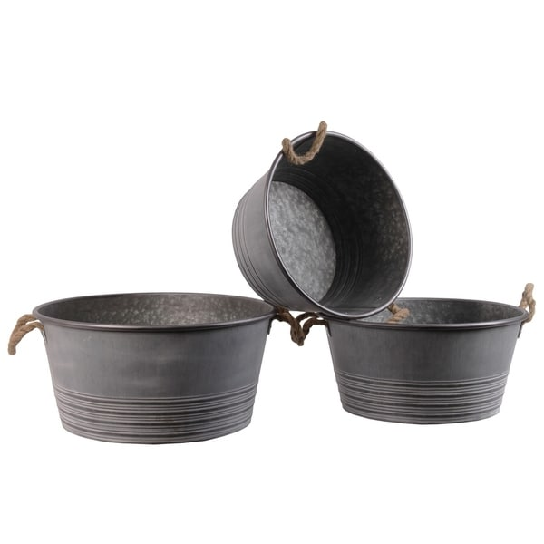 UTC31438: Metal Round Planter with Ribbed Banded Rim Bottom and Rope Side Handles Set of Three Galvanized Finish Gray 33225407