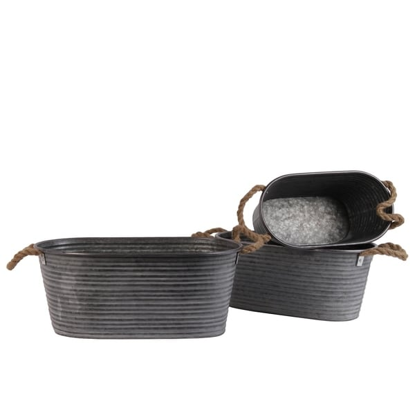 UTC31442: Metal Short Oval Planter with Ribbed Design Body and Rope Side Handles Set of Three Galvanized Finish Gray 33225409