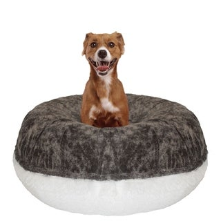 Bessie and Barnie Signature Koala/ Snow White Luxury Shag Extra Plush Faux Fur Bagel Pet / Dog Bed