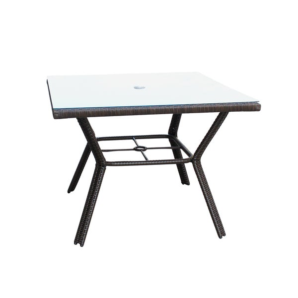 Resin wicker Square dining table with 5MM tempered glass 33242951