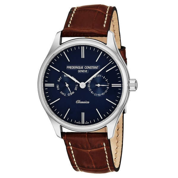 Frederique Constant Men's FC-259NT5B6 'Classics' Blue Dial Brown Leather Strap Date/Day Swiss Quartz Watch 33243344