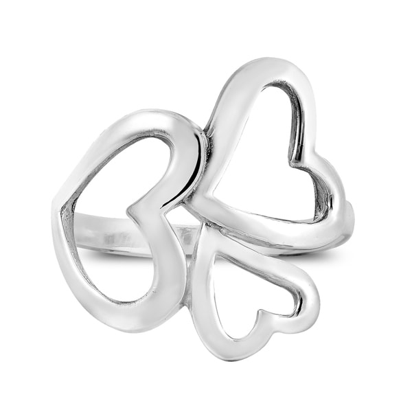 Handmade Cute Modern Triple Hearts of Love Sterling Silver Ring (Thailand) 35343788