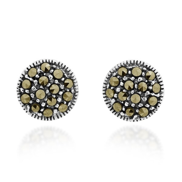 Simple Dome Marcasite .925 Silver Stud Earrings (Thailand) 33261037
