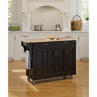 Copper Grove Puff Island Black Finish with Wood Top Kitchen Cart