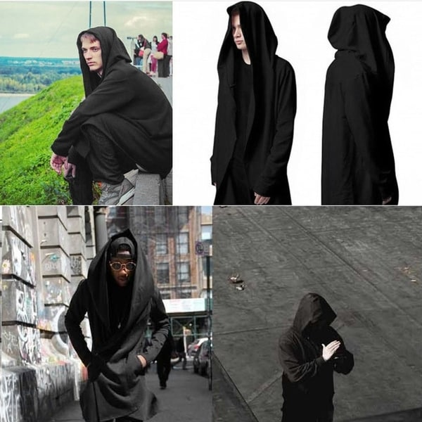 Daker Wizard Long Section Windbreaker Hooded Outwear Coat for Man 33276316