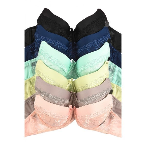 Mamia 6-Pack Full Coverage Lace Accent Bras (Assorted Colors) 33282215