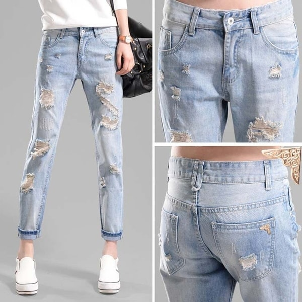Women Junior Ripped Hole Jeans Loose Fit Ankle Length - M 33287855