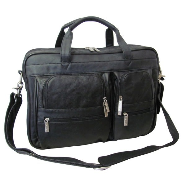 Amerileather Black Leather Business Briefcase