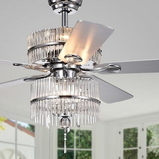 Wyllow 6-light Crystal 5-blade 52-inch Chrome Ceiling Fan (Optional Remote & 2 Color Option Blades)