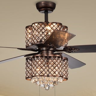 Quincy 6-light Crystal 5-blade 52-inch Rustic Bronze Ceiling Fan (2 Color Option Blades)