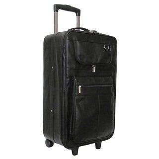 Amerileather Black Leather 26-inch Suitcase with Wheels