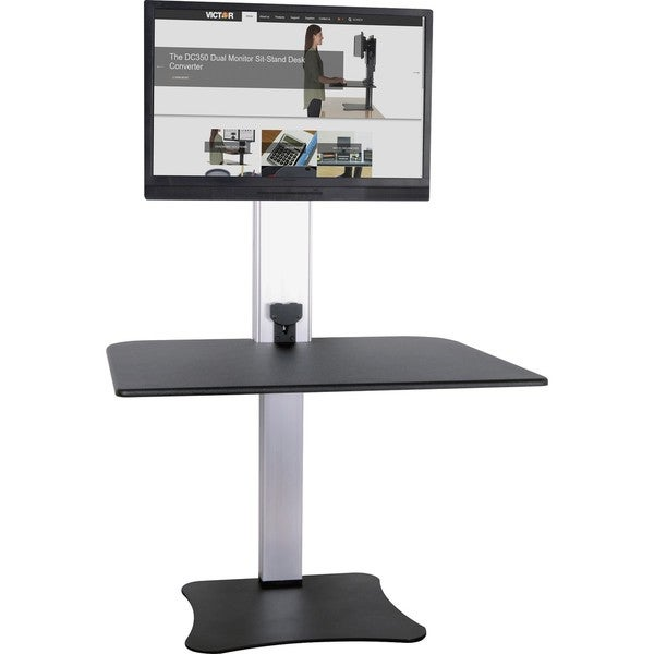 Victor High Rise Electric Single Monitor Standing Desk Workstation - Supports One Monitor of Any Size Up yo 25 lbs 33317932