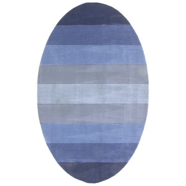 Hand-tufted Blue Stripe Wool Rug (8' x 10' Oval)