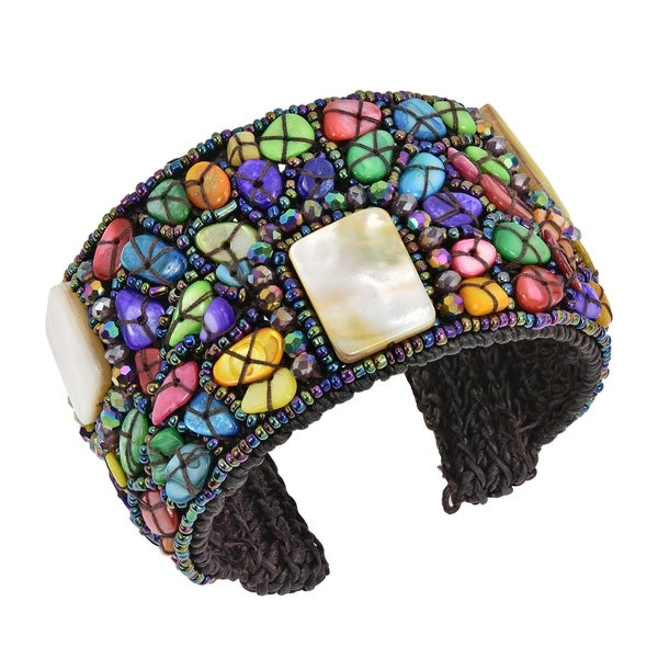 Rainbow Mosaic Stone Mother of Pearl Accent Cuff Bracelet (Thailand) 33338516