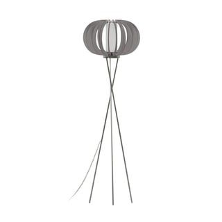 Eglo Stellato Colore Floor Lamp with Matte Nickel Finish and Grey Wood Shade and White Glass