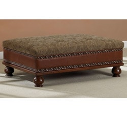 Nutmeg Bonded Leather/ Fabric Coffee Table Ottoman