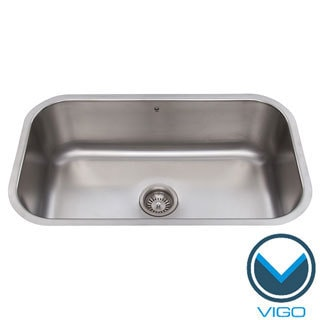 VIGO 30-inch Undermount Stainless Steel 18 Gauge Single Bowl Kitchen Sink