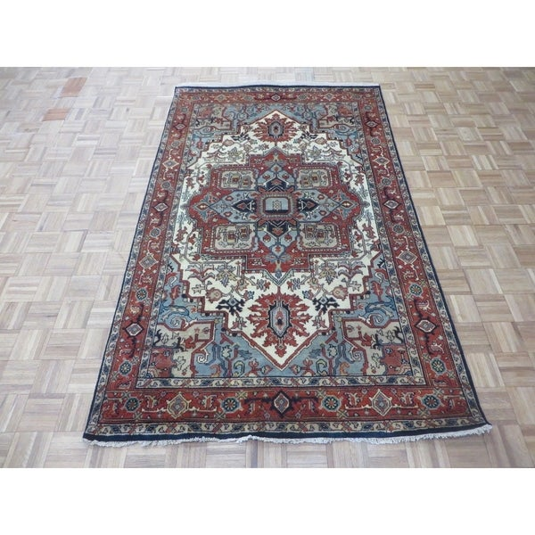 """Hand Knotted Ivory Serapi Heriz with Wool Oriental Rug (5'2"""" x 8'5"""") 33385182"""