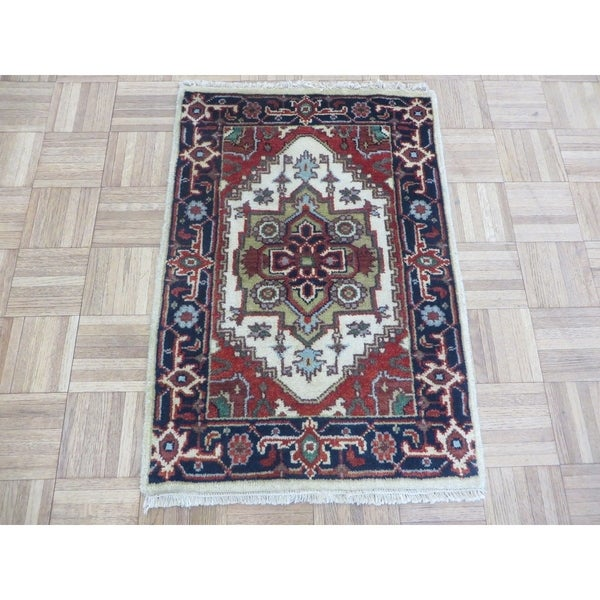Hand Knotted Ivory Serapi Heriz with Wool Oriental Rug (2' x 3') 33385209