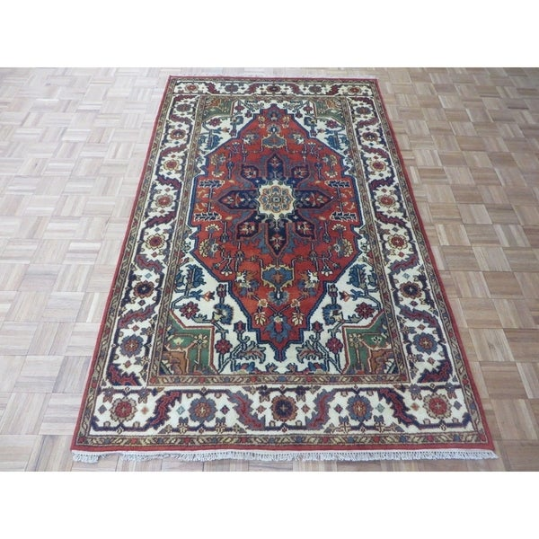 """Hand Knotted Rust Red Serapi Heriz with Wool Oriental Rug (4'11"""" x 8'2"""") 33385248"""