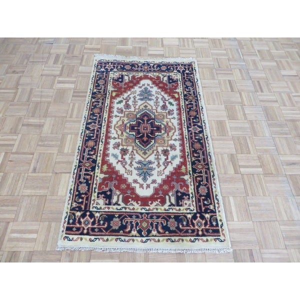 """Hand Knotted Ivory Serapi Heriz with Wool Oriental Rug (3'1"""" x 5'3"""") 33385253"""